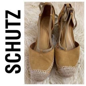 Schutz Tan Suede Espadrilles with Ankle Ties. 9M